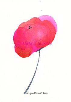 Art, Painting, Original Watercolor Painting: Lipstick Pink Poppy