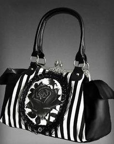 Pinstripe Circus Bag Lolita Emo Victorian Cameo Rose Black