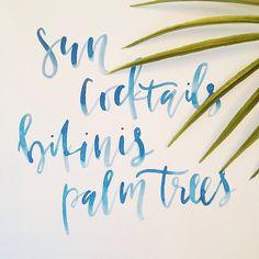 Calligraphy Sun Cocktails Bikinis Palm Trees por afabulousfete