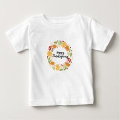 HAPPY THANKSGIVING Thanksgiving Wreath Cute Baby T-Shirt - thanksgiving day family holiday decor design idea
