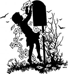 Valentine Mail Silhouette Image -   The Silhouette shows a little Girl mailing out her Valentines at the Mail Box! This one was scanned from an old Circa 1941 Printer's Catalog.