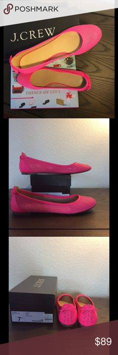 NWB J. Crew Quorra Ballet Flats neon pink New and never worn J. Crew neon pink Quorra Ballet Flats in 7.5. These are a perforated shoe with leather upper and leather lining. The back of the shoe has an adorable lace up detail. Made in Italy. Fits to size. Comes with box. J. Crew Shoes Flats & Loafers