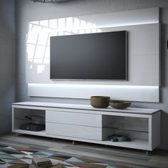 Share and Save $5 Off Any Order Over $99. (excludes a few products) Manhattan Comfort Lincoln TV Stand w/ Casters & Lincoln Floating Wall TV Panel 1.9 w/ LED in White Gloss #dynamichome