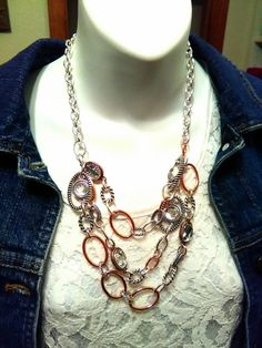 Hampton necklace: take lobster claws and thread through links to create layered look that stays in place!