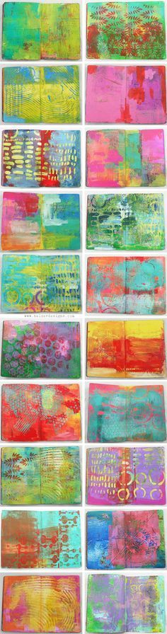 De la couleur plein les yeux. / Art Journal Every Day. / Gelli Printed Journals / By Julie Fei Fan Balzer.