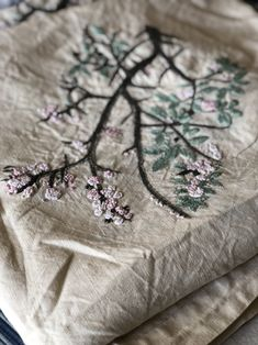 Excited to share this item from my #etsy shop: Floral Tablecloth Vintage Scandinavian linen cotton hand embroidered tablecloth beige grey and pink hygge cherry blossom Floral Tablecloth, Vintage Colors, Chinoiserie, Hygge, Handicraft, Cherry Blossom, Pink And Green, Scandinavian, Etsy Shop