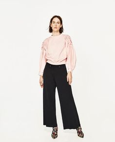 ZARA - WOMAN - CONTRAST POPLIN TOP