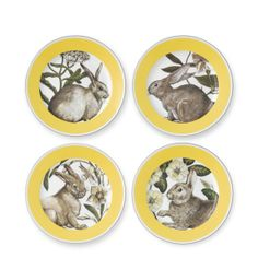 Yellow Banded Easter Salad Plates, Set of 4