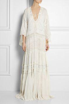 Roberto Cavalli Lacetrimmed Printed Silkcrepe Dress in White