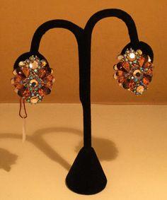 Rust Crystals Clip Earrings