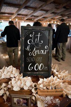 Snow wedding send off.