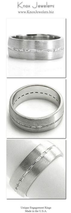 This wedding band design is a sophisticated band crafted in 14k white gold. The wide presence of the band forms into a low profile for a tailored fit. A single row of channel set baguettes are horizontally set down the center. The brushed finish to the bands surface highlights the eternity row of diamonds. This design can be made for any type, shape, or size center stone.From out of town? No problem. Check out our Try Before you Buy Program.For more information click on the pin. #engagement…