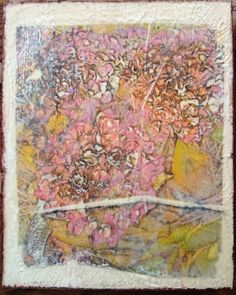 """""""Hydrangea with Torn Edge"""" Encaustic wax and mulberry paper. 8""""x10"""""""