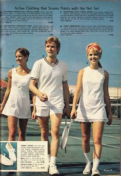 Tennis togs 1973 - I played tennis in my preteens and teens, and remember tennis dresses like these.