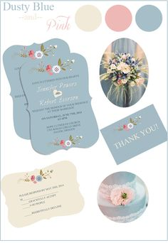 Dusty Blue and Pink Wedding Color Ideas and Invitations