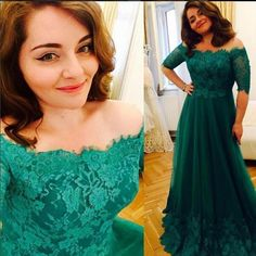 Princess Green 2017 Lace Prom Dresses Short Sleeve A Line Tulle Prom Gowns Vintage Plus Size Evening Formal Dress