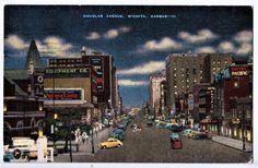 postcard, 1940's, Wichita Kansas, Douglas avenue, hand colored photo