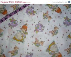 Vintage Precious Moments fabric girl bunny watering can flowers cotton print quilt quilting sewing material to sew crafting by the yard baby #preciousmoment, #fabric, #quilting, #sewing, #material, #crafting, #etsy, #store - pinned by pin4etsy.com