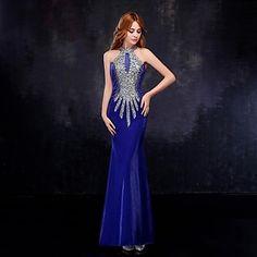 Fiesta formal Vestido - Azul Real Corte Sirena Hasta el Suelo - Escote Alto Tul – MXN $ 2,056.81