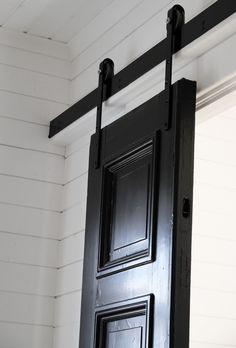 A pair of sliding doors Diy Sliding Door, Diy Door, Pella Hedeby, Door Detail, House Doors, Winter House, Decorating Blogs, Door Handles, New Homes