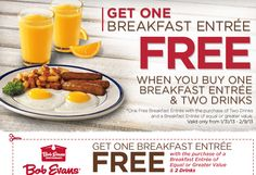 BOB EVANS $$ Reminder: Coupon for BOGO FREE Breakfast Entree – Expires TODAY (2/9)!