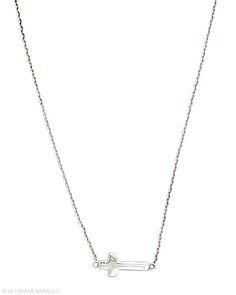 This graceful cross lies in perfect alignment with the delicate chain. Sterling Silver.