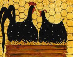 Animal Folk Art Paintings   Hubbs Children Art Folk Prints Whimsical Animals Fowls Rooster Chicken ...