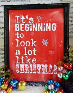 It's beginning to look like Christmas sign digital - red uprint words vintage style paper old pdf 8 x 10 frame saying