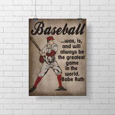 Sport Print Vintage Baseball Art Print  Kids by Lexiphilia on Etsy