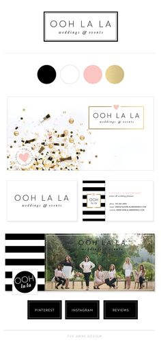 Brand Identity, logo, stationery for for Ooh La La Weddings and Events by Fly Away Design. Wedding planner in Sonoma County, CA
