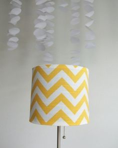 Yellow Chevron Drum Lampshade Cover by jill.  #Kaboo