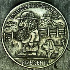 John Carter - 1936 Bushy Polzinski and Flea Flea Hobo Nickel, Coin Art, Fleas, Paper Cutting, Coins, Rooms