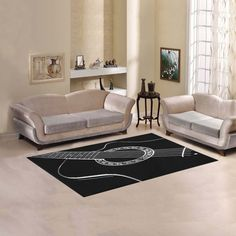 Black & White Acoustic Guitar Area Rug 5'x3'3''