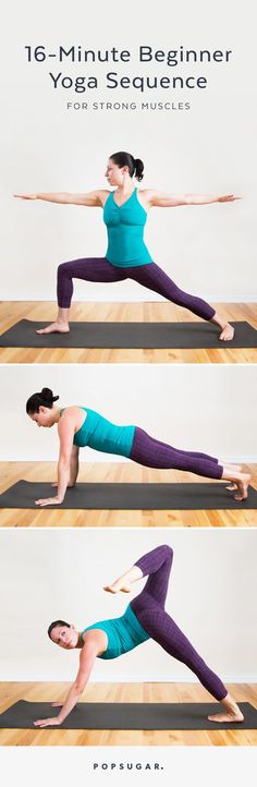 Strengthen your muscles so they look lean and toned with this 16-minute beginner yoga sequence. It includes basic poses like Down Dog and Dolphin Plank to tone your arms, core, and legs. You'll definitely feel worked after this!