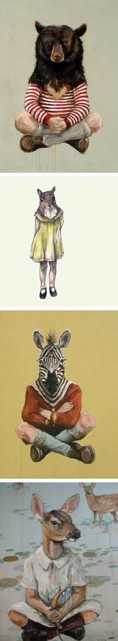 Animal / Children #illustration by Michael McConnell. These paintings are 'dealing with the characteristics that we associate with #animals, in conjunction with how we are raising our #children.'