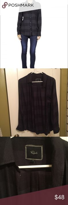 Rails hunter plaid Medium charcoal combo Rails classic hunter style button down shirt. Size medium worn once. Color is a charcoal and black combo. Cute easy style great condition. Retails $138 Rails Tops Button Down Shirts