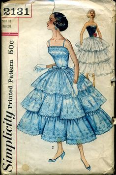 Dress Pattern Simplicity 2131 Prom or Formal Evening Dress. 1950s Dress Patterns, Wedding Dress Patterns, Vintage Sewing Patterns, Clothing Patterns, 1950s Fashion, Vintage Fashion, Fashion Fashion, Vintage Dresses, Vintage Outfits