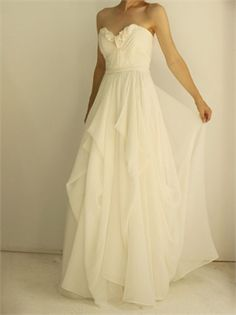 Elegant White A Line Strapless Chiffon Wedding Dress AHT0002// This is the ACTUAL link to the store. Finally! :)