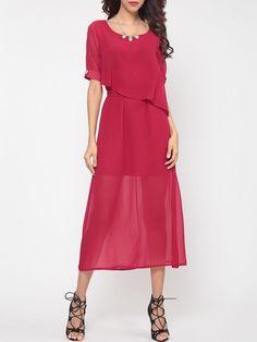 #BFCM #CyberMonday #Fashionmia - #Fashionmia Plain Bowknot Elegant Round Neck Maxi Dress - AdoreWe.com
