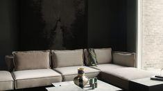 Rug on wall. Designed by Camilla Stærk. Black and grey rug inspired by a spine. Danish Furniture, Furniture Design, Mid Century Nursery, Black And Grey Rugs, Sofa, Couch, Danish Design, Camilla, Objects