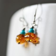Amber and Turquoise Oxidized Sterling Silver by Mayahelena on Etsy, $22.00