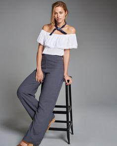 Womens Linen Wide Leg Pants | Womens Bottoms | Abercrombie.com