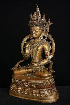 Bronze with copper and silver inlay. Oriental, Tibetan Art, Divine Mother, Buddhist Art, 14th Century, Himalayan, Asian Art, Buddhism, Mandala