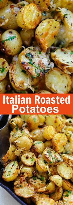 Healthy Recipes : Illustration Description Italian Roasted Potatoes – buttery, cheesy oven-roasted potatoes with Italian seasoning, garlic, paprika and Parmesan cheese. So delicious -Read More – Potato Dishes, Food Dishes, Cheese Dishes, Food Food, Cooking Recipes, Healthy Recipes, Vegetarian Italian Recipes, Easy Recipes, Italian Meals