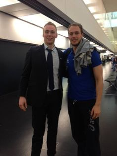 Brother reunion at the airport :))  Rene Toft Hansen and Erik Toft Hansen  elegant , sporty ,  so cute so nice :))