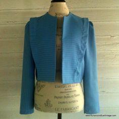 Vintage Jacket  1960s CAROLINA Blue Cropped by runaroundsuevintage, $26.00