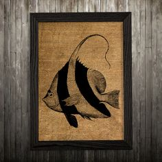Fish print. Nautical poster. Marine decor. Burlap print.  PLEASE NOTE: this is not actual burlap, this is an art print, the image is printed on art