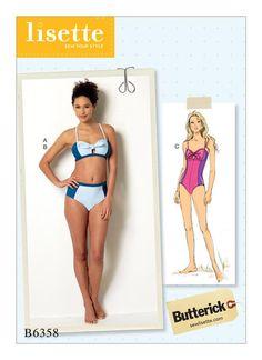 Butterick Sewing Pattern by Lisette B6358 Misses' Tie-Detail Bikini & One-Piece Swimsuit … WeaverDee.com