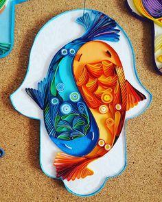 Fish Hamsa by Sari Wurtman #quillingart #quilling #hamsa #fish #yingyang #paperdesigns #paperart #handoffatima