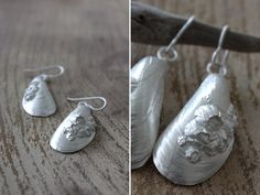Hand Made Sterling Silver Mussel Shell Dangle by WaysideFlower